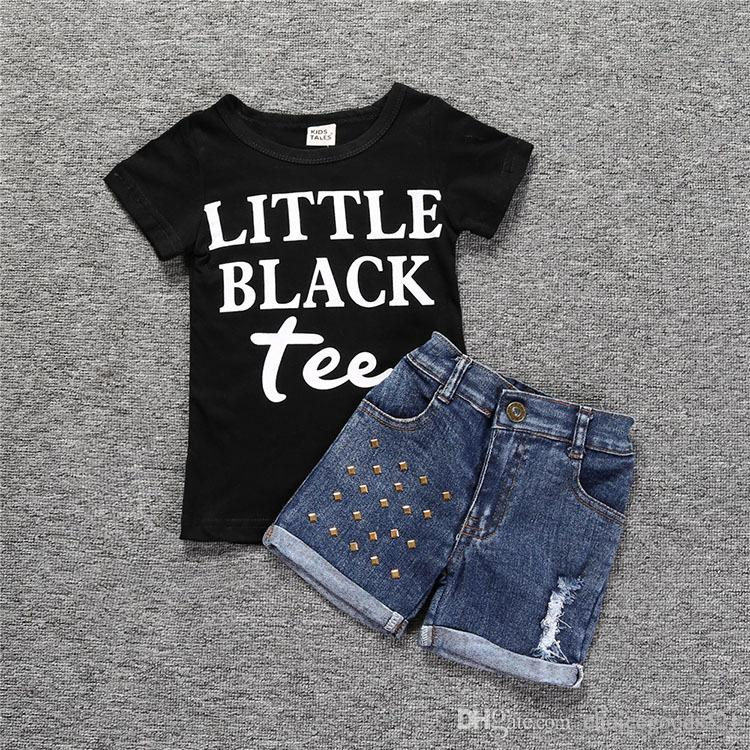 cfe65b389 Summer Baby Kids Girls Clothes Set Letter T Shirt + Studded Jeans ...