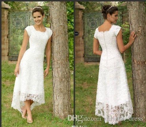 White Tea Length High Low Lace 2019 Wedding Dresses U Neck Cap Sleeves Modest Wedding Gowns Elegant Pleats Custom Made Beach Bridal Gowns