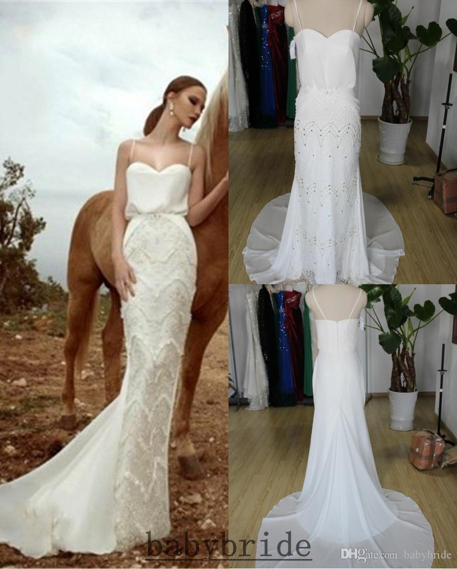 zoog studio 2015 wedding dresses backless sexy beach spaghetti sleeveless ivory white mermaid hot bridal gowns babybride d2925 lace mermaid style wedding