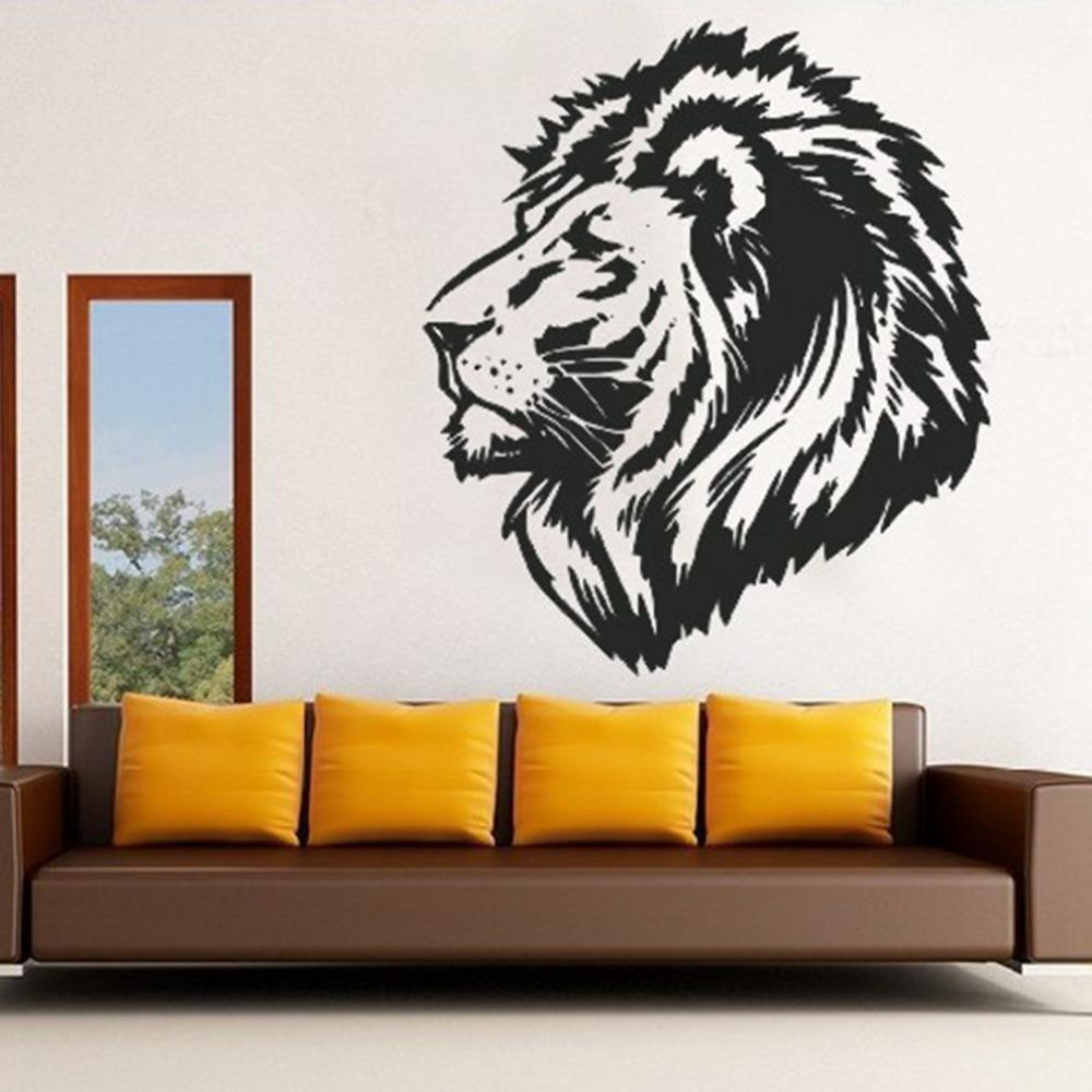 2015 Modern Large Lion Head Animal Pattern Wall Stickers Home Decor Pvc  Waterproof Removable Sticker Decoration Black Stickers Walls Super Mario  Wall ...