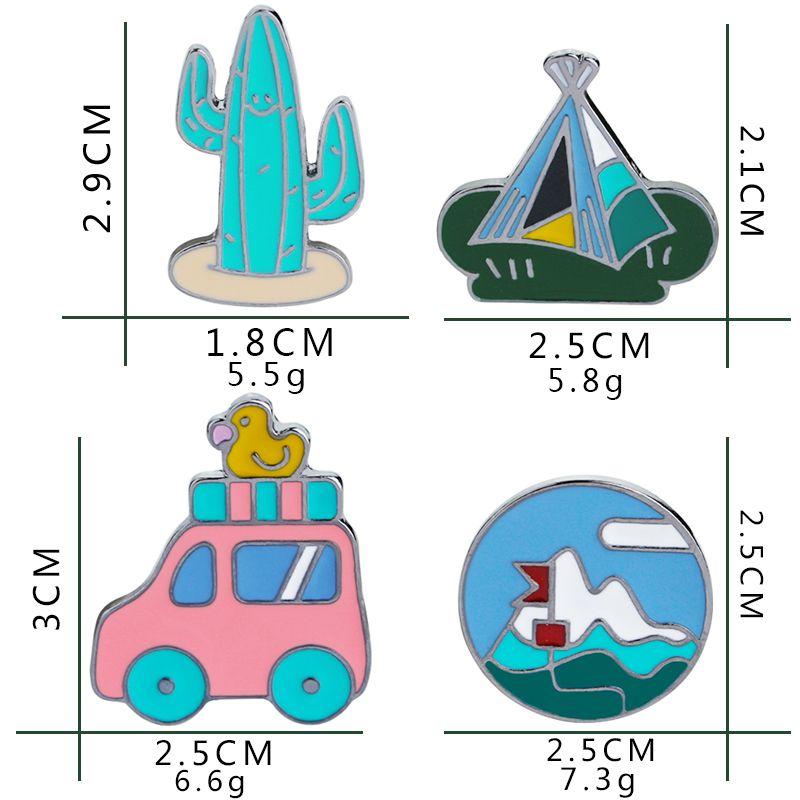 Retro Reise Autos mit Ente Zelt Cactus Revers Pin Emaille Brosche Denim Jacke Abzeichen Funny Camping Pin für Frauen Mädchen Jungen Kinder