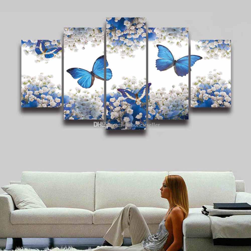 5 panel painting canvas wall art butterfly flower modular picture hd prints poster artwork for home decor living room bedroom