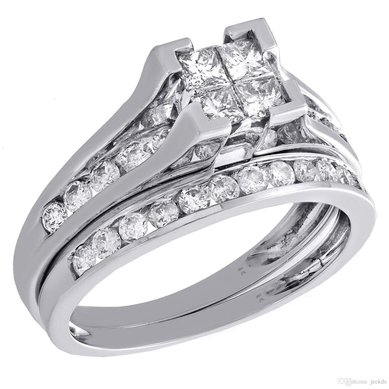 2017 Princess Cut Diamond Bridal Set 14k White Gold Round
