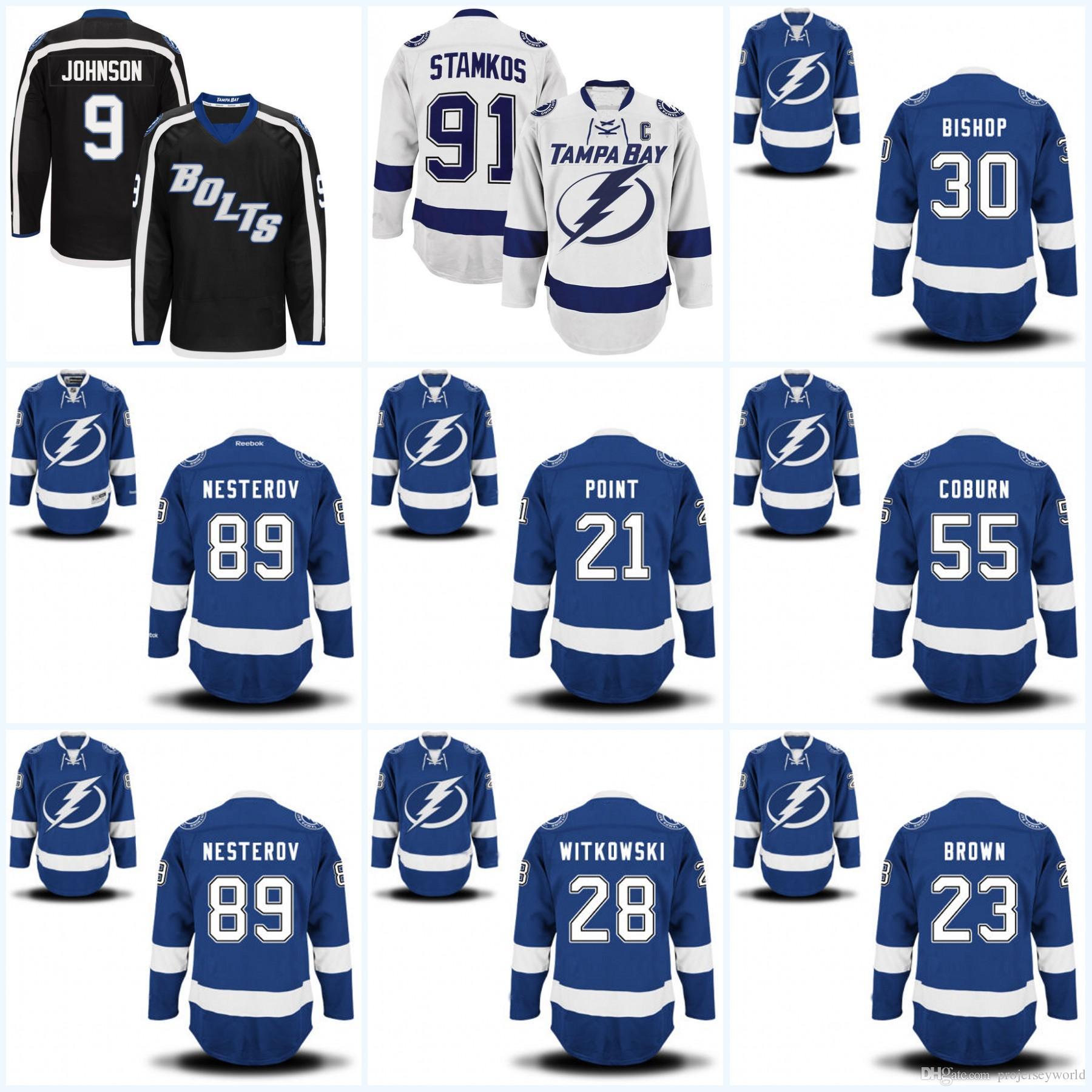 online store 3c380 433e5 Mens Tampa Bay Lightning Jerseys 21 Brayden Point 23 J.T. Brown 28 Luke  Witkowski 30 Ben Bishop Hockey Jerseys
