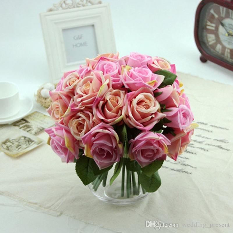 Nuevo A Bouquet of Roses Artificial Rose Seda Flores Ramos de novia para la boda Fake Flower Floral Decoración del hogar Decoración 9 cabezas