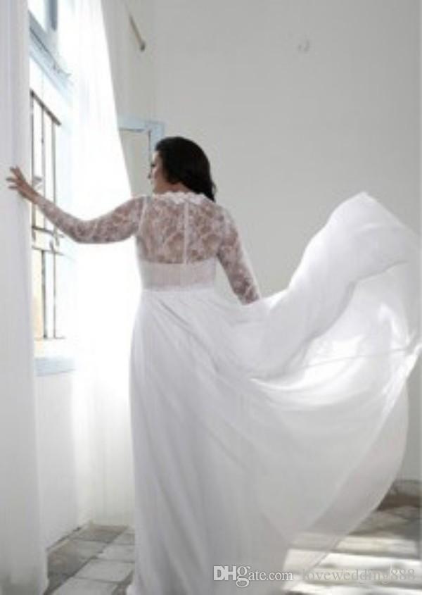 Sexy Tiefer V-Ausschnitt Plus Size Brautkleider Sheer Long Sleeve Spitze Chiffon Side Split Vintage Brautkleid 2019