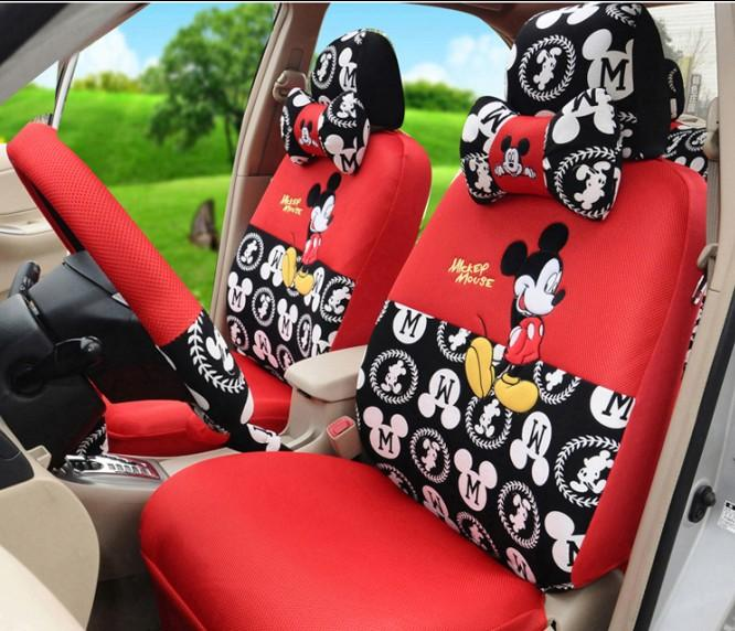 fashion cartoon mickey mouse car seats covers set mickey lovers front back seats covers for car. Black Bedroom Furniture Sets. Home Design Ideas