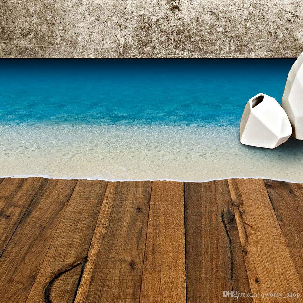 Beach Sand Wall Stickers For Floor Removable Sea Beach Floor Stickers Kid  Room Diy 3d Decals Print Ground Room Mural Art Inexpensive Wall Decals ...