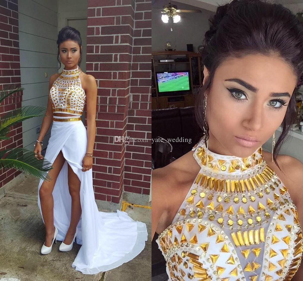 Sexy Split White Gold Prom Dresses High Neck Halter Chiffon Sheath ...