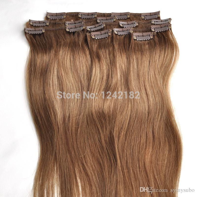 Light Brown Virgin Remy Hair Clip In Human Hair Extension Full head Set 100% Certified Human Hair Clip in Extensions