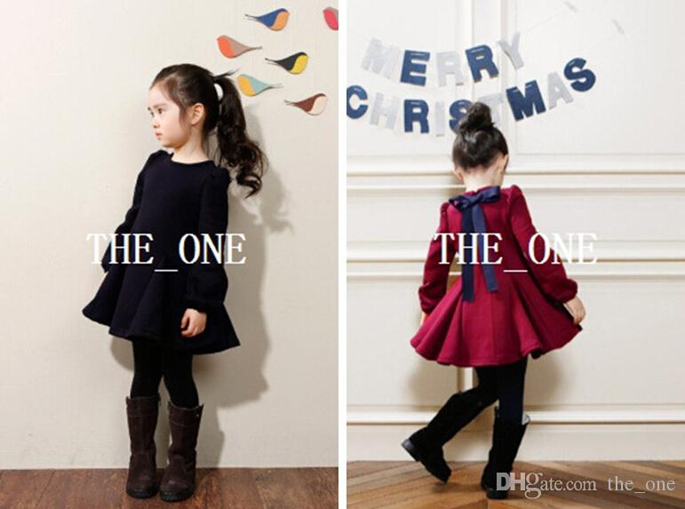 3e1f45aef 2014 Autumn Winter Korean Dress Girl Back Bow Dress Baby Girls Long ...