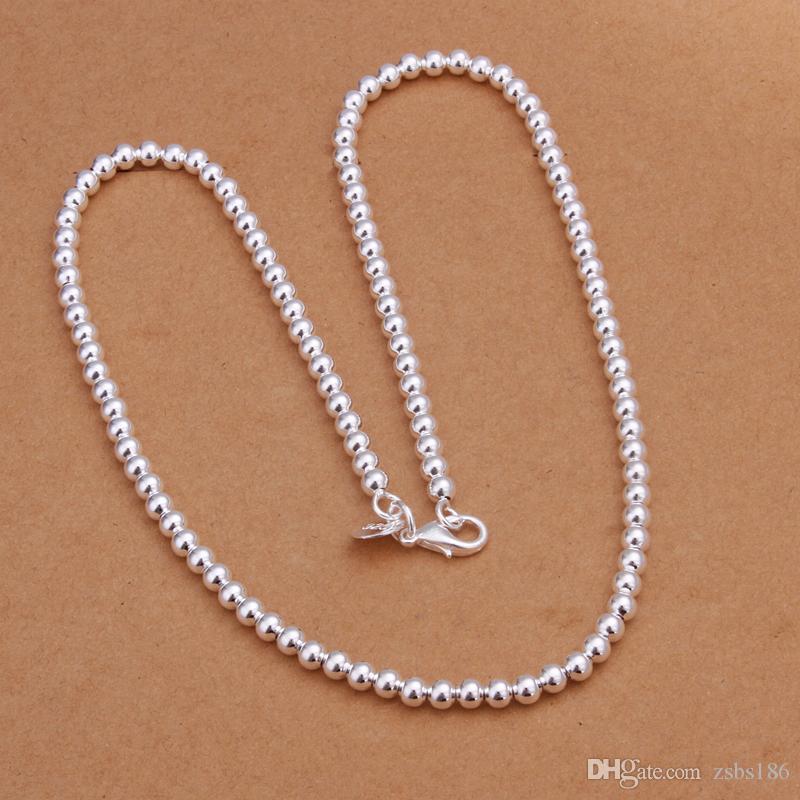 Высокое качество 925 посеребренные 4 мм бусины ожерелье ювелирные изделия свадебный подарок для женщины с низкими ценами бесплатная доставка