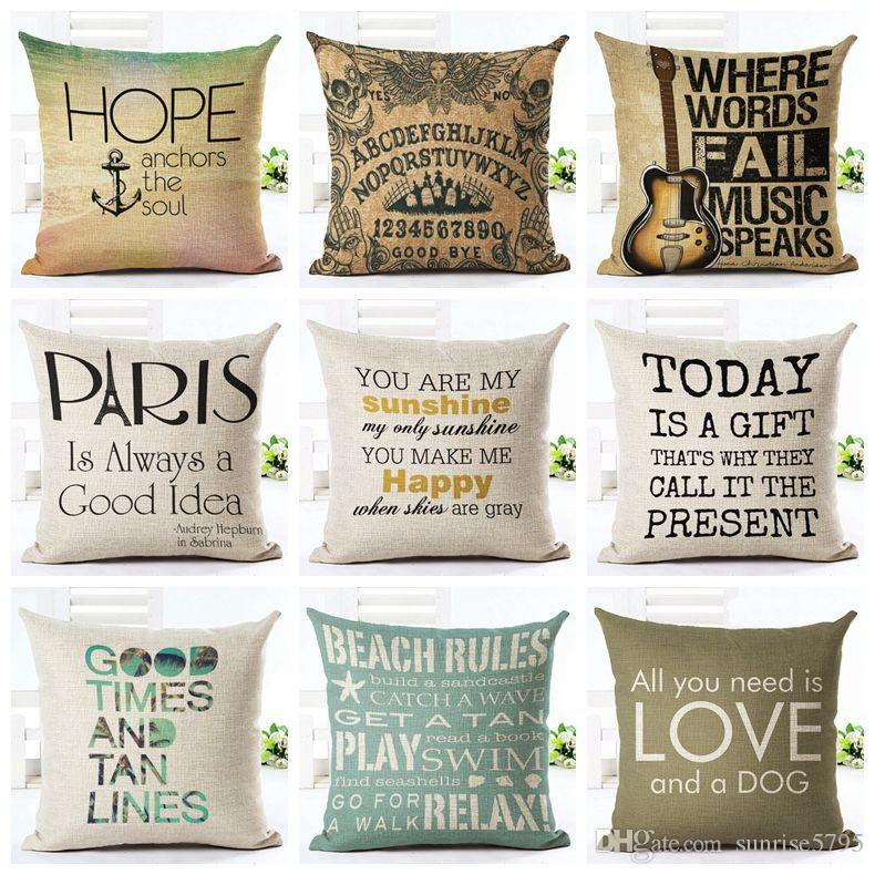 Letters Cushion Cover Love Quote Chair Chaise Throw Pillow Case Cool Decorative Pillows With Words