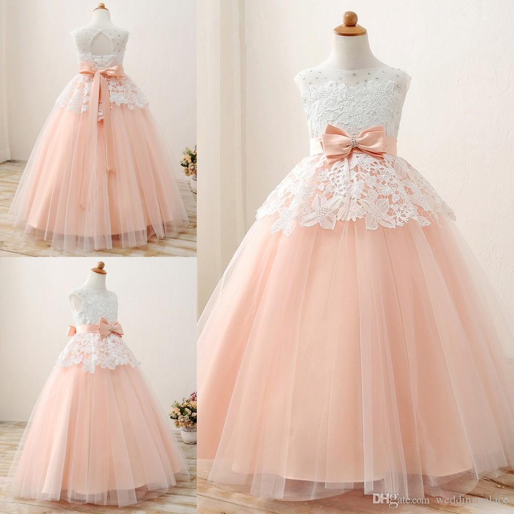 50f01338f Lovely Scoop Neck Lace Flower Girl Dresses Lace Up Back With Bow Tulle  Floor Length Girls Pageant Dresses First Communion Dresses Flower Girl  Baskets Girl ...