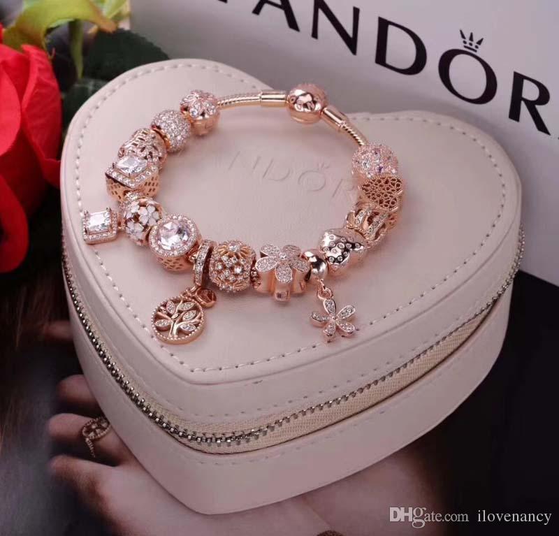 pandora armband rosegold silber