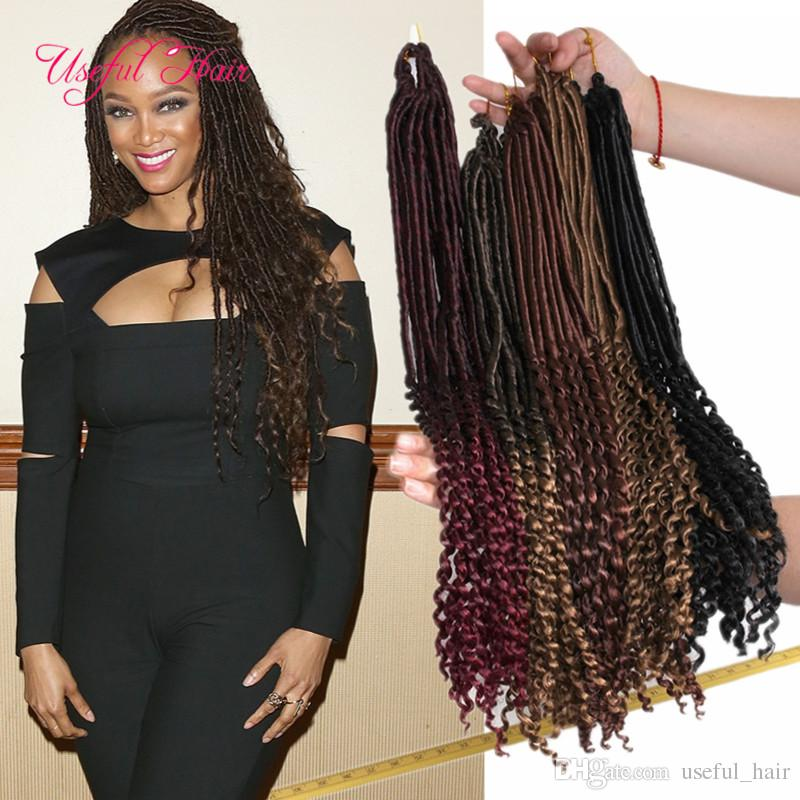 ombre brown color 18inch goddess locs hair half straight half wave braids synthetic hair extensions faux locs synthetic braiding hair