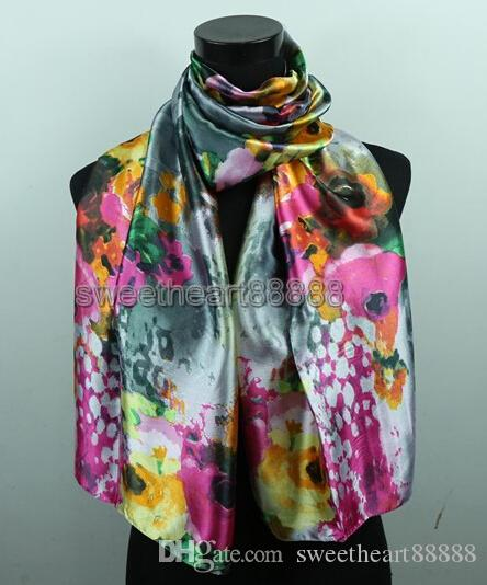 White Gypsophila Hot Pink Rose Flower Dark Grey Women's Fashion Satin Oil Painting Long Wrap Shawl Beach Silk Scarf 160X50cm