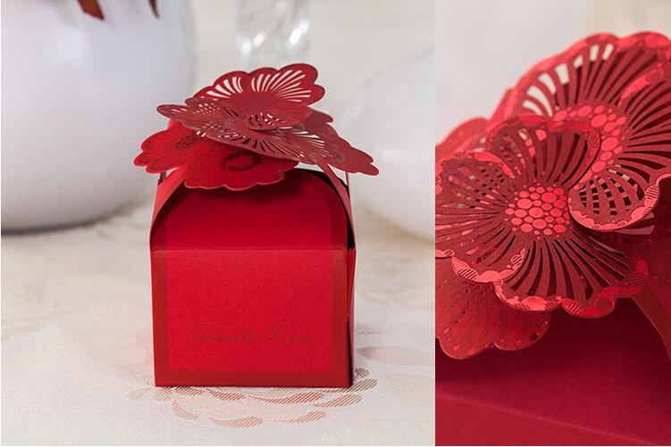 2016 Delicate Paper Candy Boxes Gift Boxes Wedding Favors Red