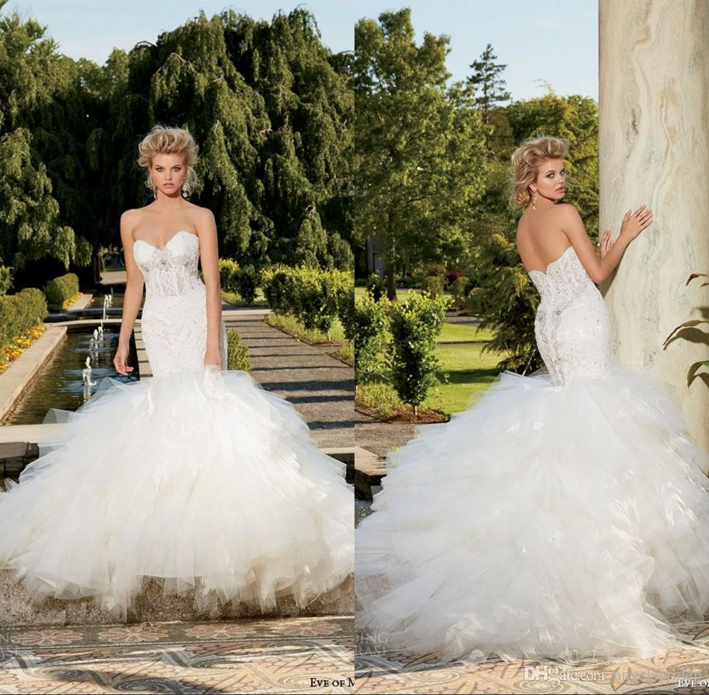 2014 2015 Strapless Fit Flare Mermaid Wedding Dress Sweetheart ...