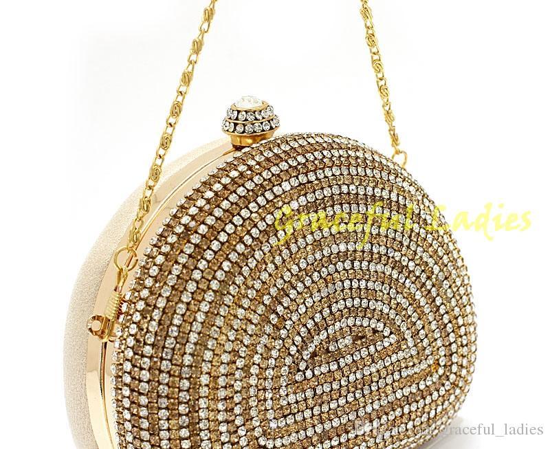 2015 Diamentowe Worki Wieczorowe Gold Night Party Torebki Czarna Bridal Hand Torba Rhinestone Crystal Sprzęgła Torby Wieczorne Torby Akcesoria