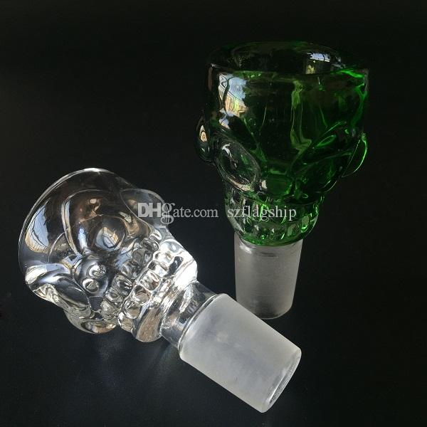 Beautiful Skull design 14.4mm&18.8mm Glass Bowl Smoking pipe bong 7mm Thick For Mini Oil Rig Percolators Bubbler ash catcher