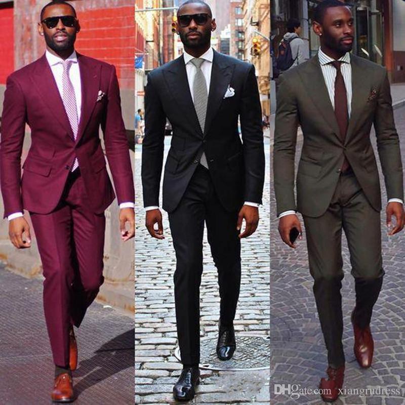 2018 schwarze burgunder bräutigam mann anzug benutzerdefinierte hochzeitsanzüge für männer herren gestreifte anzug hochzeit bräutigam tuxedo anzug hochzeit tuxedo jacke + hosen
