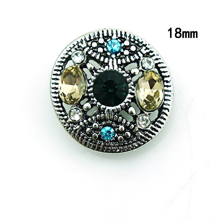 ارتفاع كمية 18 ملليمتر المفاجئة أزرار الأزياء 3 اللون كريستال مثقوب الزنجبيل المشابك المعدنية diy مجوهرات اكسسوارات noosa