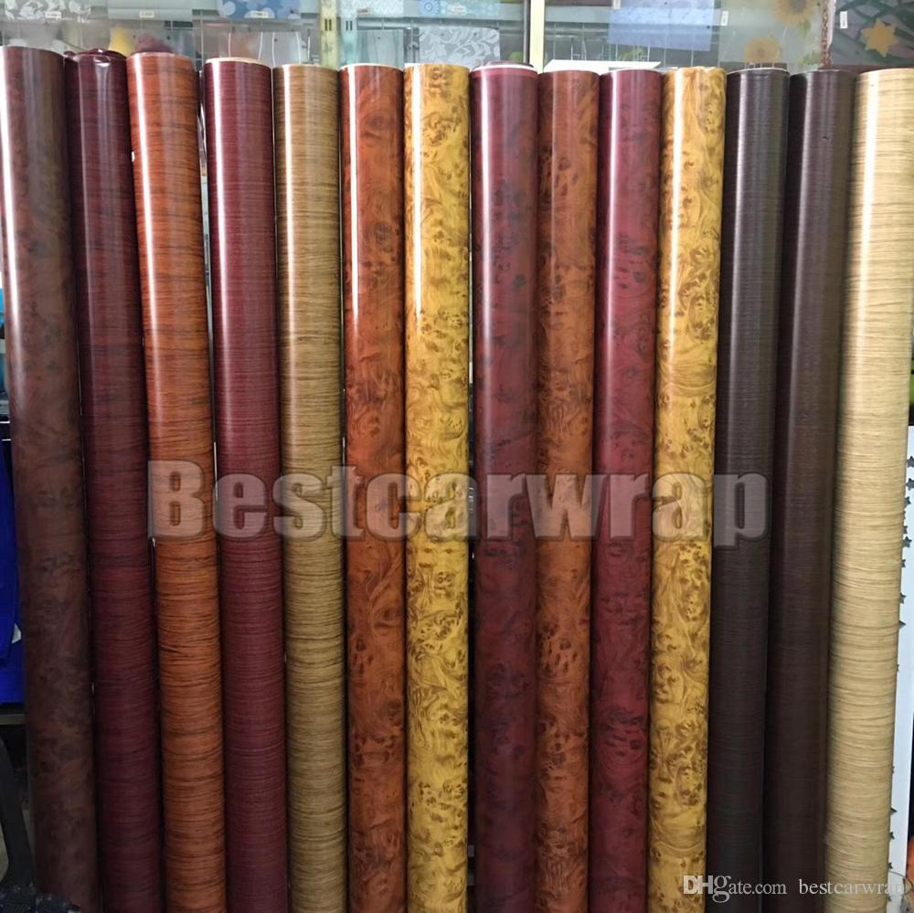 Various Color Wood grain Vinyl Wrap With air bubble free For Car Exterior  and Inteiror Wrap covering stickers Size 1 52x20m /Roll 5X67ft