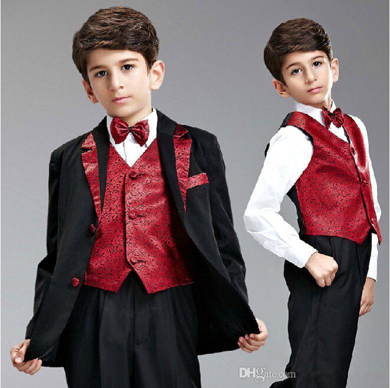 2015 The Best Selling Boy's Formal Occasion Suit Little Men Wedding Tuxedos Boy Formal Party Suits Jacket+Pants+Vest+Tie