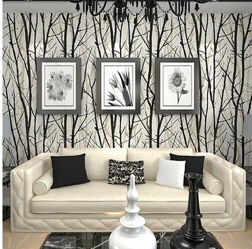 Textured Tree Forest Woods Wallpaper PVC Wall Paper Roll For TV Background Home Decor Black White R13 Online With 4154 Piece On