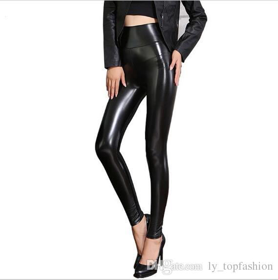 2b1943374 Fleece Pantalones de cuero negro de las mujeres del otoño invierno mujer PU  Leggings delgado flaco cintura alta PU Leggings pantalones para mujeres