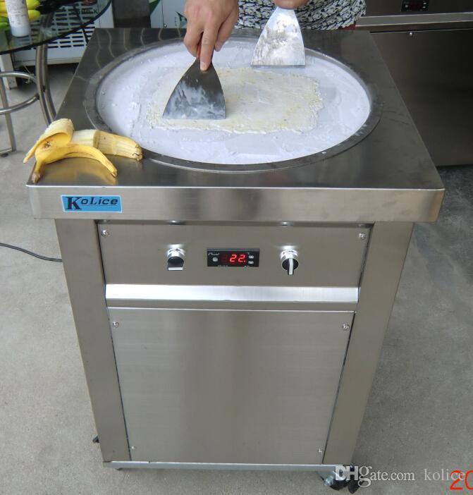 Commercial Etl CE 22 pollici rotondo Pan Thai Gelato Roll Rotolo Macchina Istantanea Fry Gelato Macchina gelato fritto