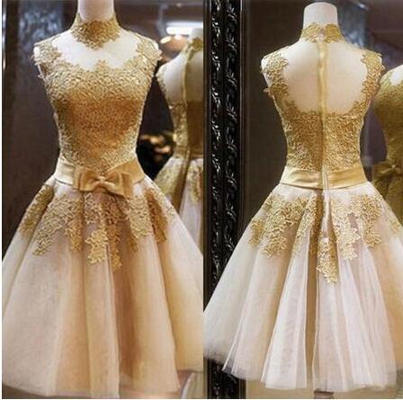 Frete Grátis Lace Ouro Curto Vestidos de Baile Vintage Tu Tu Saia Uma Linha de Tule Vestidos de Festa de Alta Qualidade Baratos Vestidos de Baile
