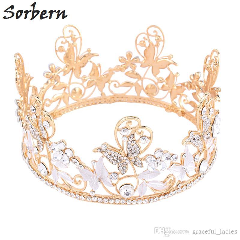 Gold Butterfly Headpieces Full Crown Rhinestone Crystal Tiara Rhinestone Crown Bridal Wedding Hair Accessory Pageant Diamante Tiara