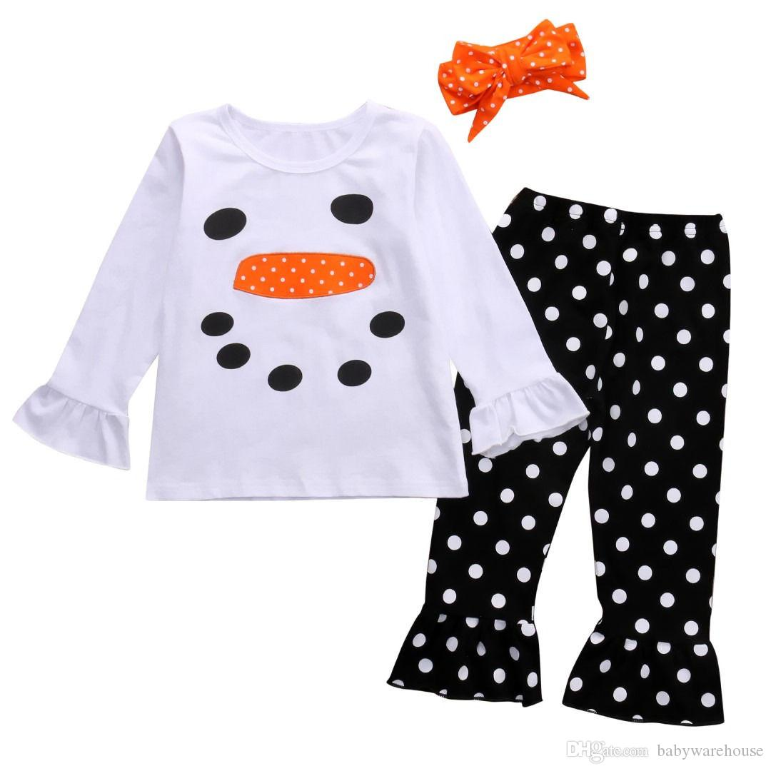 217bbf2d15c2 2019 Set Kids Christmas Clothing Toddler Clothes Baby Girls Snowman ...