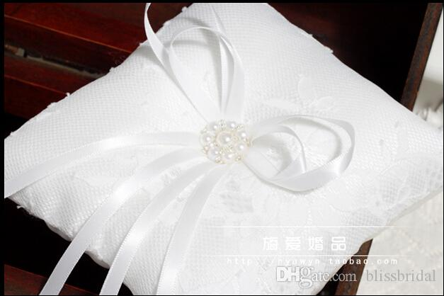 White Lace Rings Pillows With Ribbon Bow Sash Pearls Crystal Pillows Form Rings Bridal And Groom