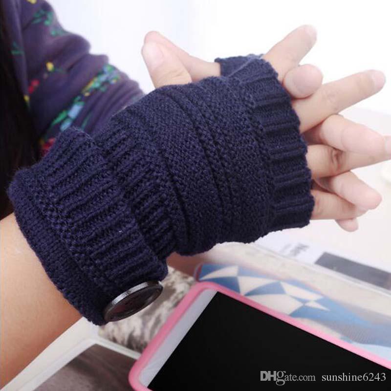 Женская кнопка вязать половина палец перчатки взрослых женщин падение запястье сплошной цвет перчатки кнопки вязаные перчатки 8 Цвет