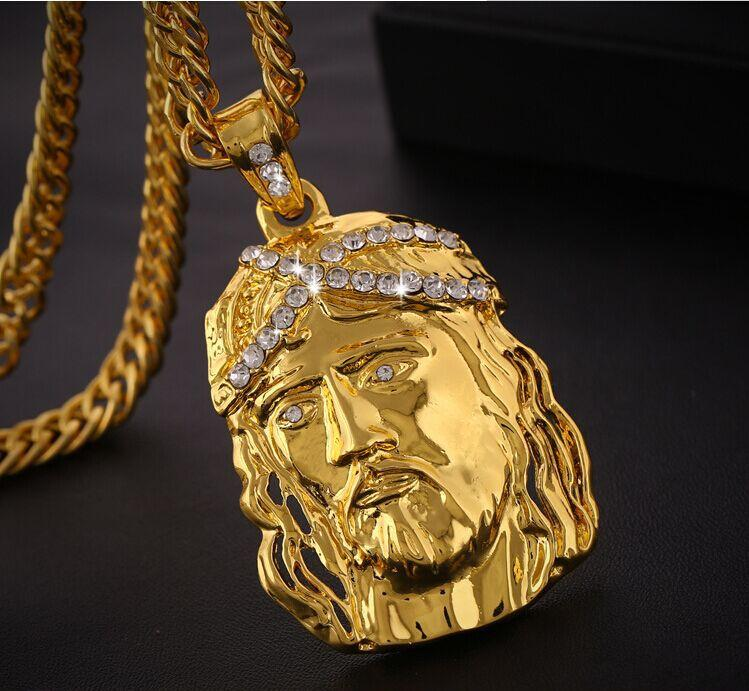 piece jesus affiliate chain with hip for jewelry women men long crystal hop gold chunky necklace filled coin pendant pin fashion