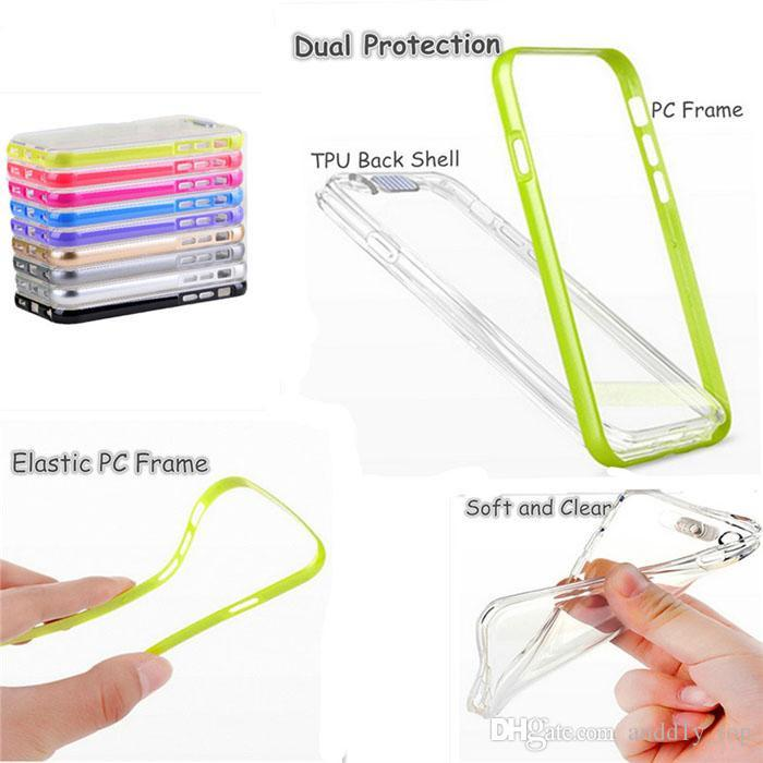 Stylish Calling Sense Colorful LED Flash Light PC UP Remind Incoming Call PC TPU 2 in 1 Lighting Cover Case For iPhone 5 5S 6 Plus iPhone6