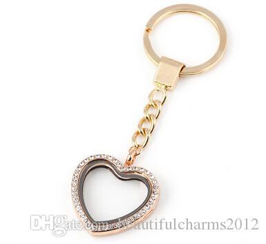 / Strass cuore ciondolo medaglione galleggiante con portachiavi in vetro vivente magnetico charms portachiavi catene chiave
