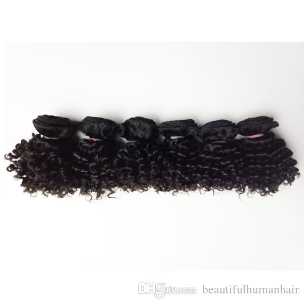 The real cuticle full Brazilian virgin human Hair weft Short bob Style 8-12inch Kinky curly hair European Indian remy hair extensions