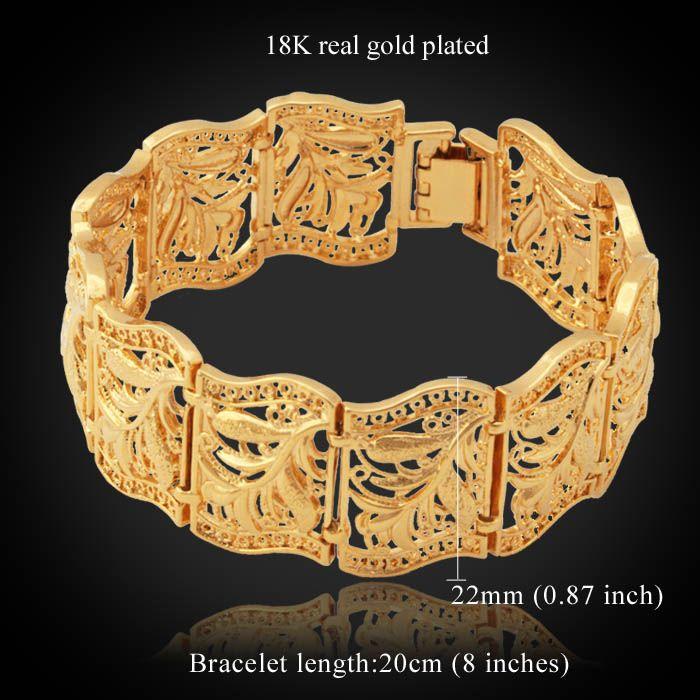 Nytt föremål Vintage Scroll Leaves Manschett Armband Bangle 18k Real Gold Plated Bangle Fashion Smycken För Kvinnor Partihandel YH5195