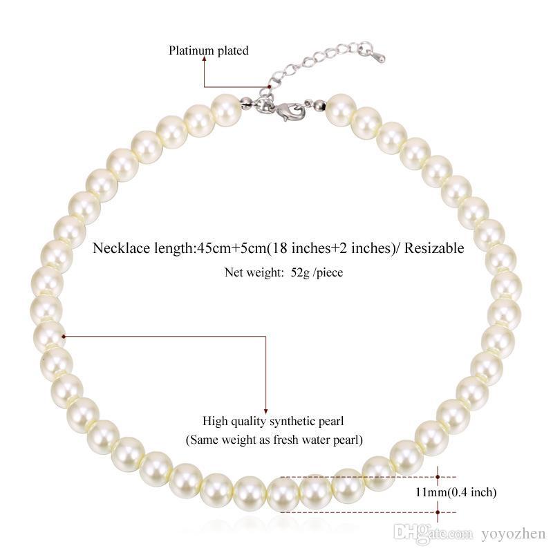 여성 2015 새로운 유행 크기 조정 럭셔리 화이트 / 블랙 구슬 목걸이를위한 고품질 합성 진주 목걸이