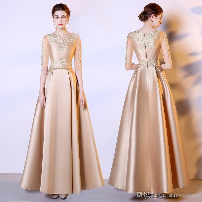 Gold Jewel Neck Satin Evening Dresses With