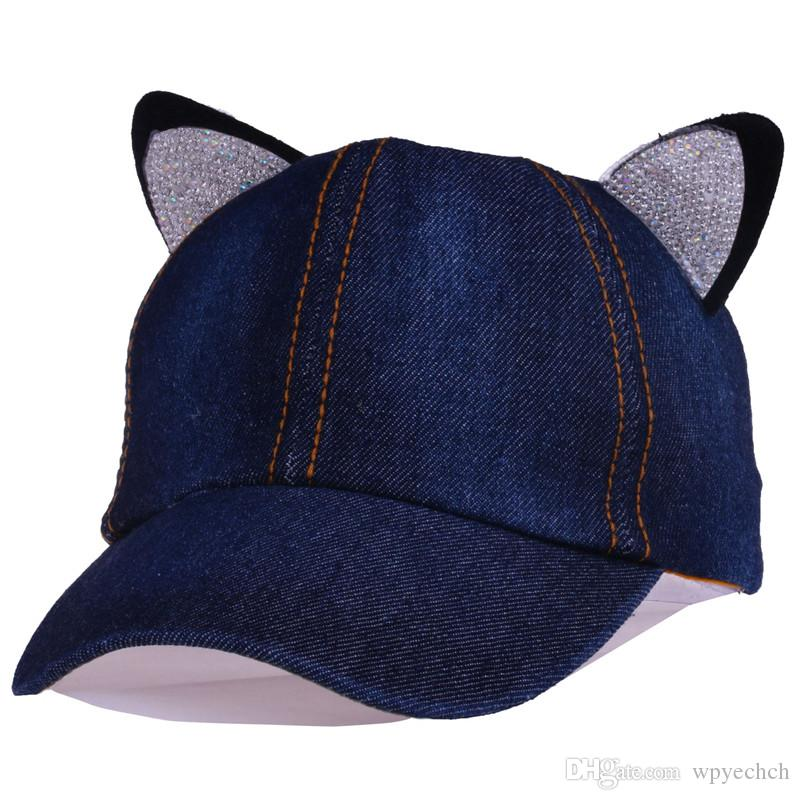 c6e7321e7038c Rabbit Ears Baseball Cap Kids Unisex Children s Cap Denim Hats Baseball Hat  Snapback for Boy Girls Gorras Cotton Bone