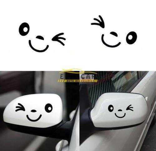 아름답고 귀여운 자동차 스타일링 미소 얼굴 자동 자동차 측면 거울에 대 한 3D 검은 데칼 스티커