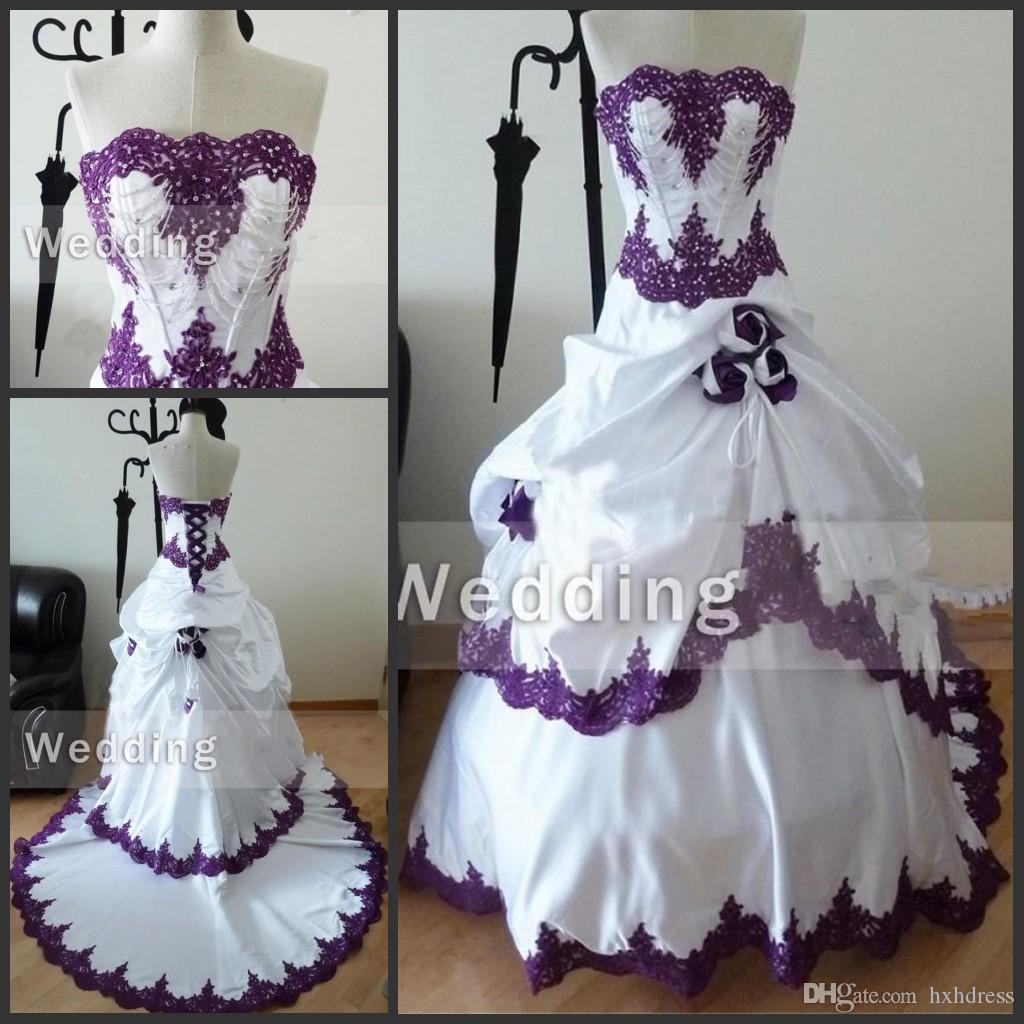 Strapless real Amostra Lace apliques vestidos de noiva com Beading Handmade Flores preto e branco gótico desgaste roxo e branco vestidos de casamento