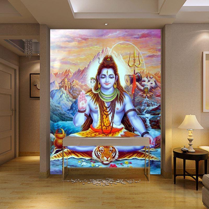 3d Stereo Religious Statues Hindu God Wallpaper Yoga