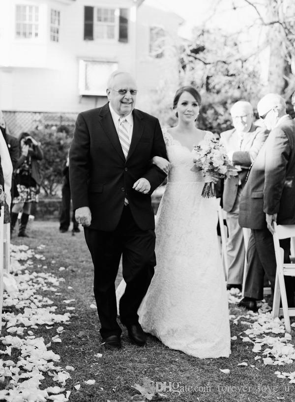 Vestido de noiva de renda vintage A Linha V Neck Capped Mangas Open Back Vestidos de noiva Noivas árabes usam com trem de varredura