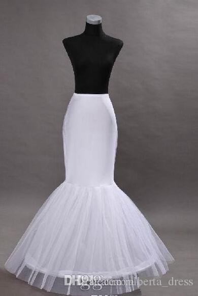En Stock Enaguas de sirena crinolina blanca 2015 nupcial enaguas Slip One aros de longitud completa enagua para la noche / baile de graduación / vestidos de novia
